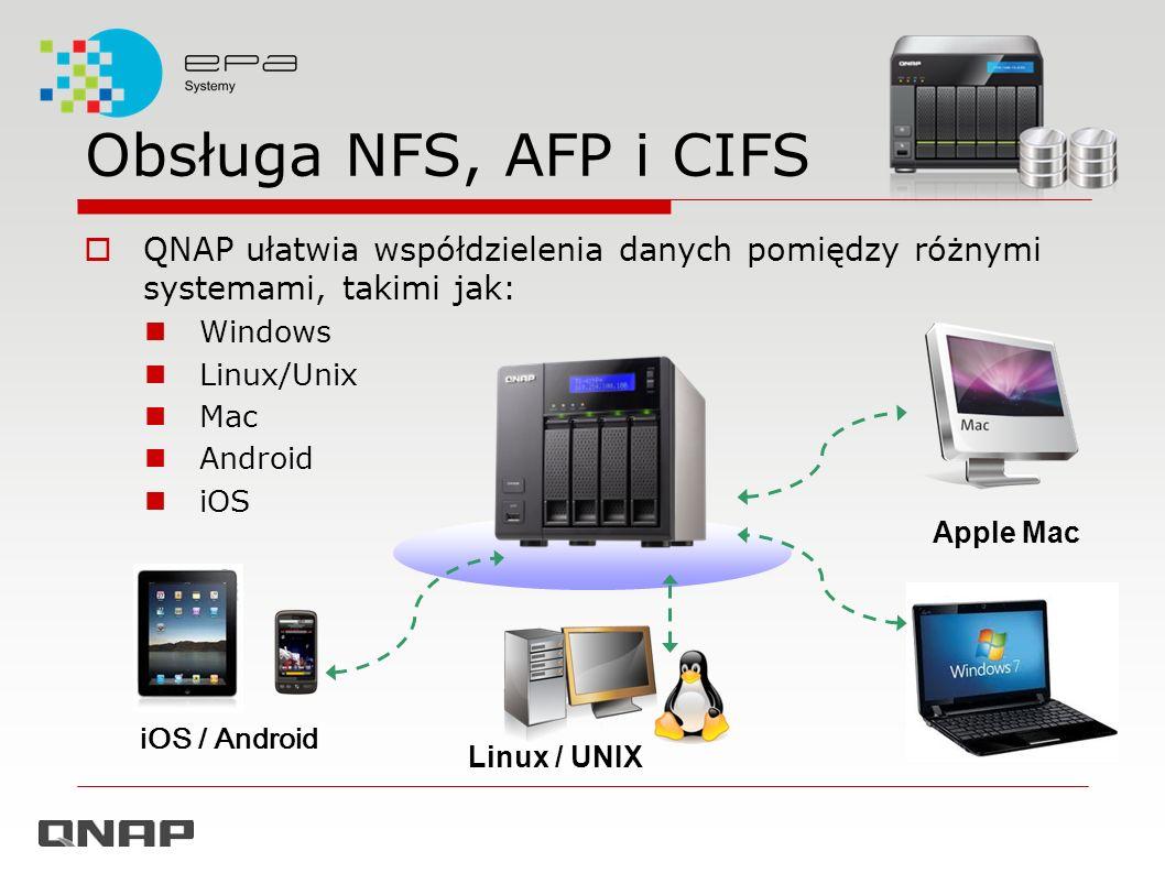Obsługa NFS, AFP i CIFS QNAP ułatwia współdzielenia danych pomiędzy różnymi systemami, takimi jak: Windows Linux/Unix Mac Android iOS Linux / UNIX App