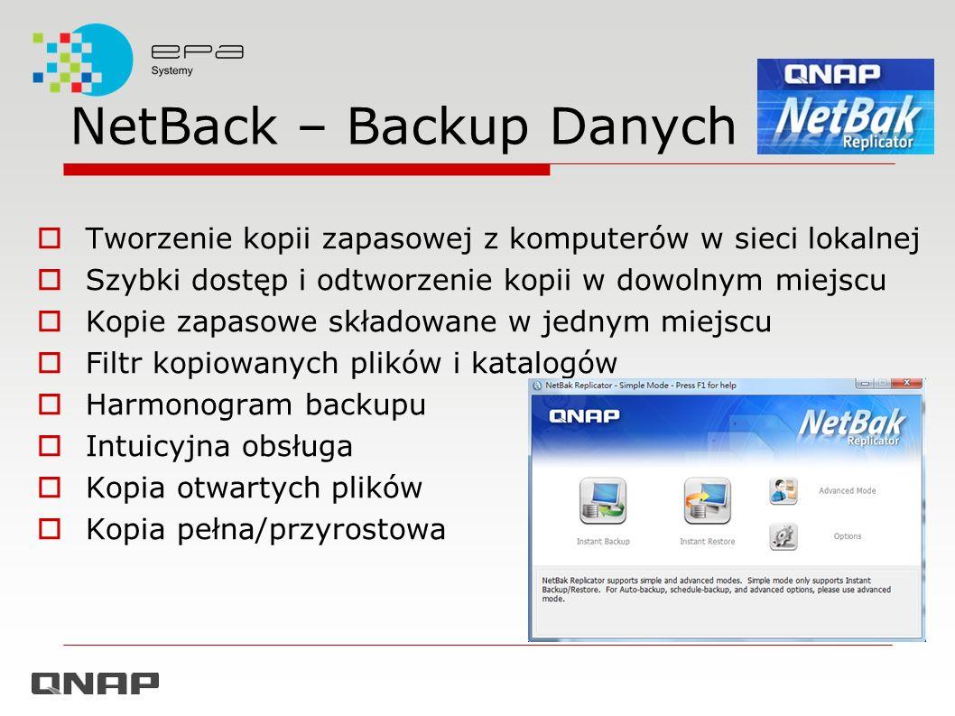NetBack – Backup Danych Tworzenie kopii zapasowej z komputerów w sieci lokalnej Szybki dostęp i odtworzenie kopii w dowolnym miejscu Kopie zapasowe sk
