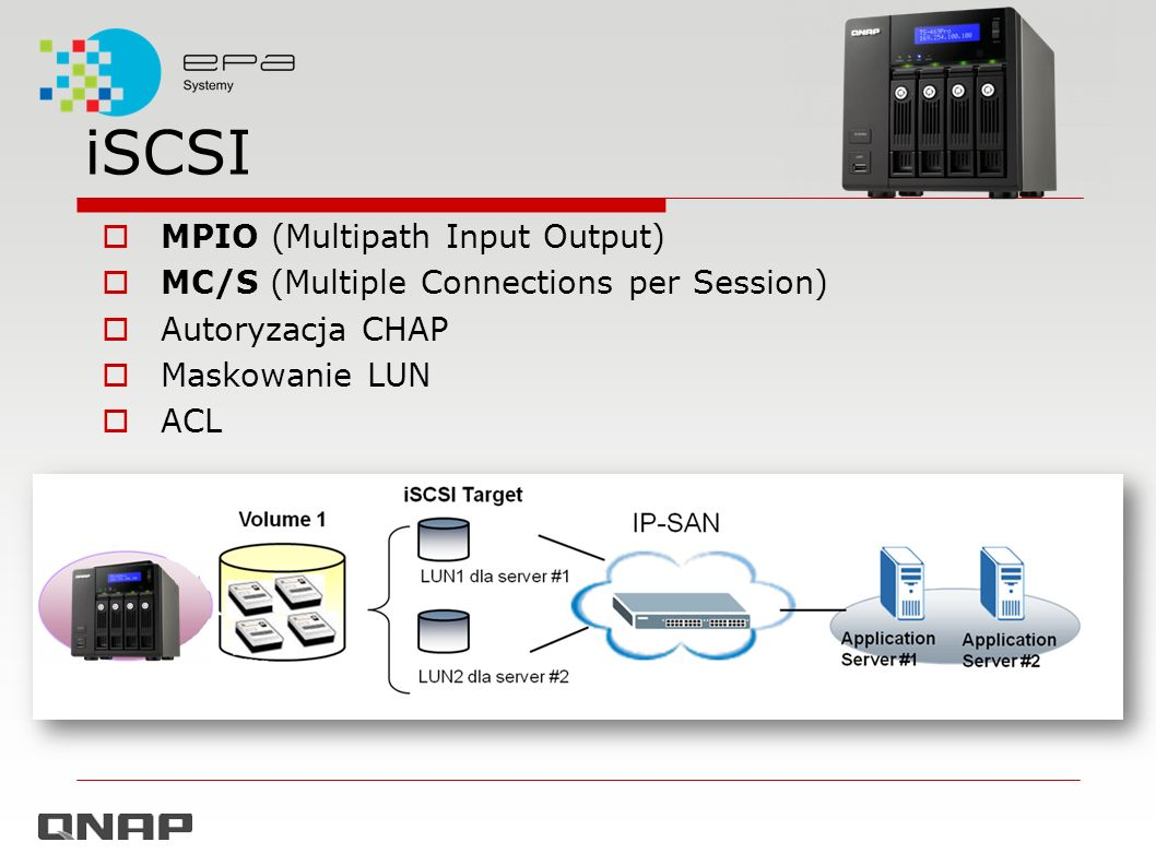 iSCSI MPIO (Multipath Input Output) MC/S (Multiple Connections per Session) Autoryzacja CHAP Maskowanie LUN ACL