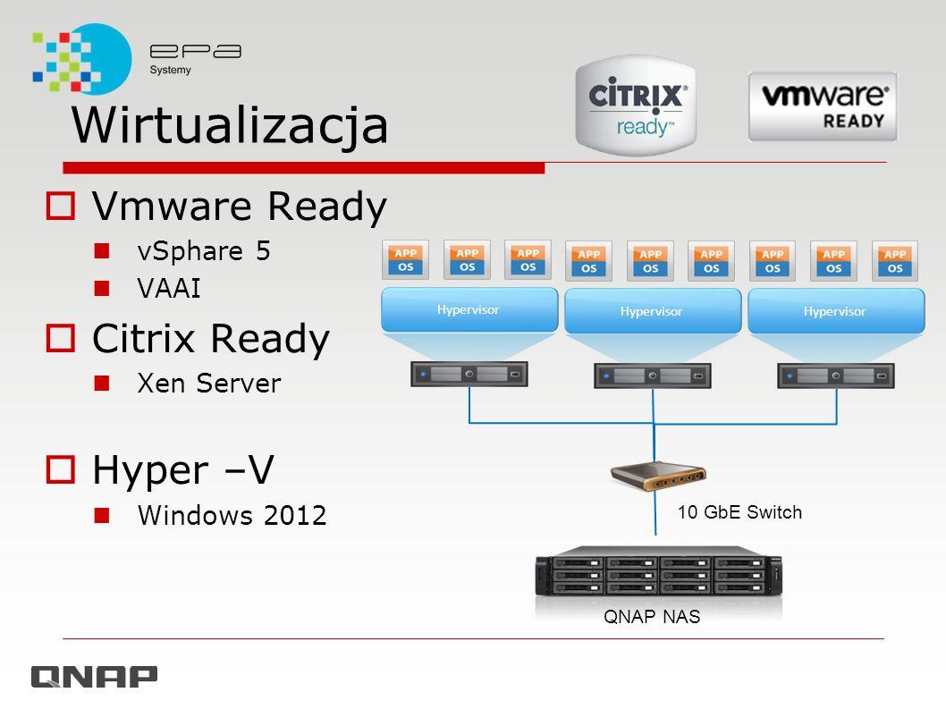 Wirtualizacja Vmware Ready vSphare 5 VAAI Citrix Ready Xen Server Hyper –V Windows 2012 Hypervisor QNAP NAS 10 GbE Switch