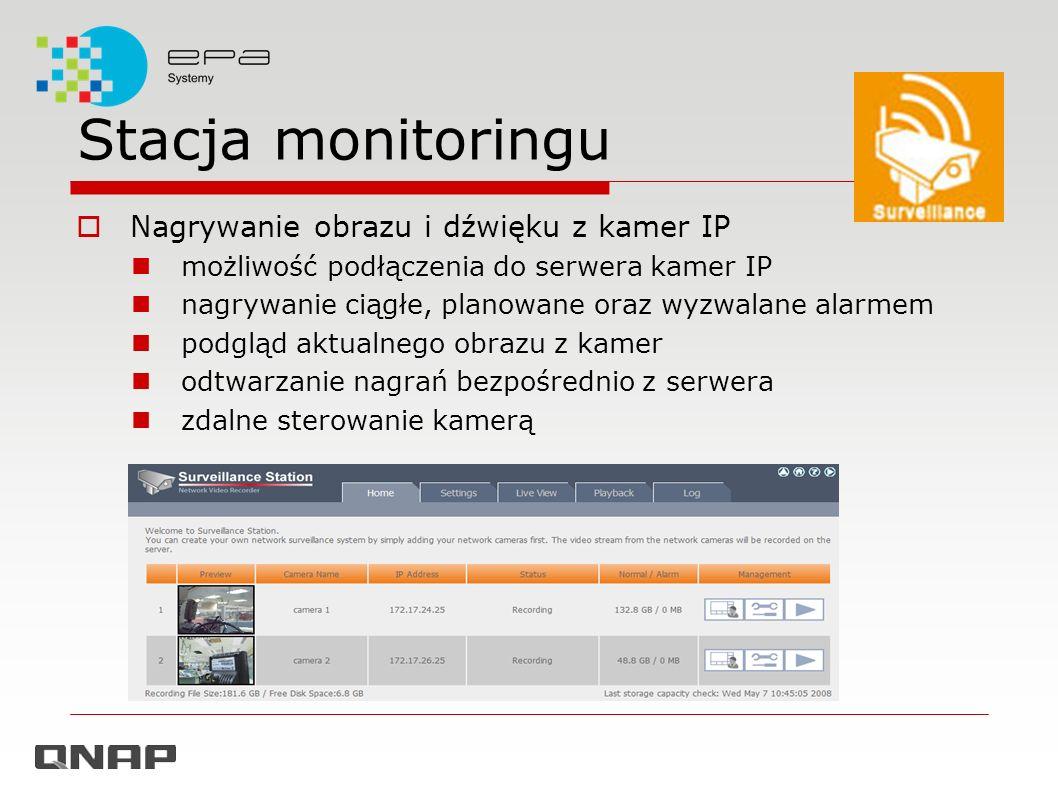 Stacja monitoringu Nagrywanie obrazu i dźwięku z kamer IP możliwość podłączenia do serwera kamer IP nagrywanie ciągłe, planowane oraz wyzwalane alarme