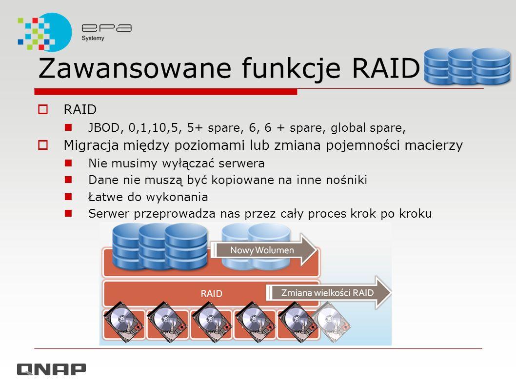 Zawansowane funkcje RAID RAID JBOD, 0,1,10,5, 5+ spare, 6, 6 + spare, global spare, Migracja między poziomami lub zmiana pojemności macierzy Nie musim