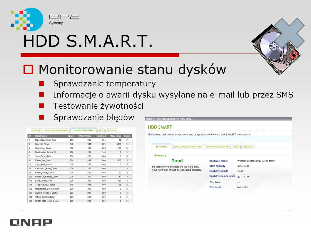 Funkcje biznesowe Serwer/Klient LDAP Antywirus Serwer RADIUS Serwer TFTP Serwer Syslog MyCloudNAS Monitor zasobów XBMC