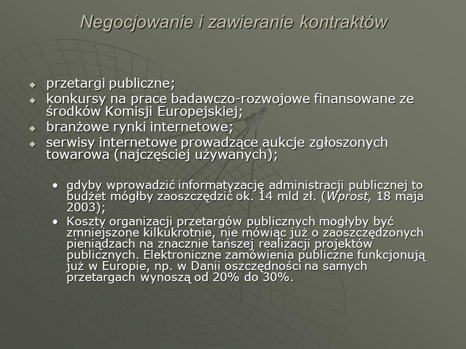 Negocjowanie i zawieranie kontraktów przetargi publiczne; przetargi publiczne; konkursy na prace badawczo-rozwojowe finansowane ze środków Komisji Eur