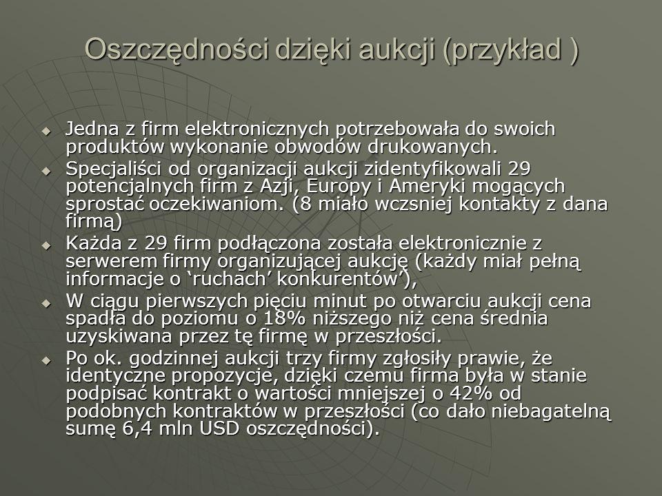 Oszczędności dzięki aukcji (przykład ) Jedna z firm elektronicznych potrzebowała do swoich produktów wykonanie obwodów drukowanych. Jedna z firm elekt