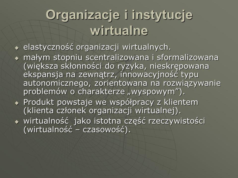 Organizacje i instytucje wirtualne elastyczność organizacji wirtualnych. elastyczność organizacji wirtualnych. małym stopniu scentralizowana i sformal