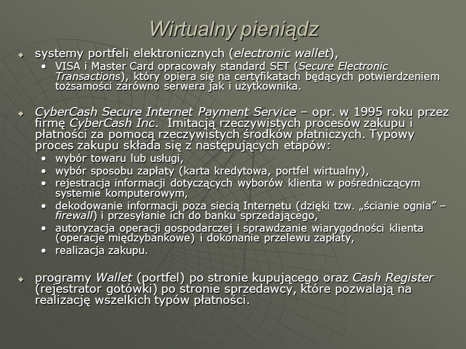Wirtualny pieniądz systemy portfeli elektronicznych (electronic wallet), systemy portfeli elektronicznych (electronic wallet), VISA i Master Card opra