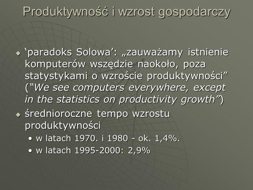 Produktywność i wzrost gospodarczy paradoks Solowa: zauważamy istnienie komputerów wszędzie naokoło, poza statystykami o wzroście produktywności (We s
