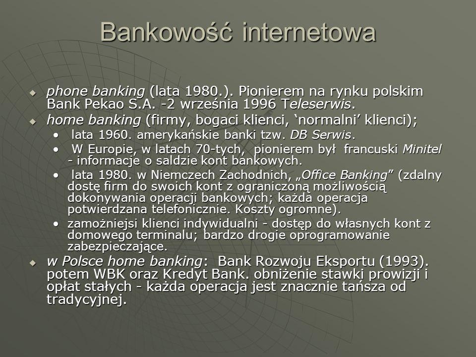 Bankowość internetowa phone banking (lata 1980.). Pionierem na rynku polskim Bank Pekao S.A. -2 września 1996 Teleserwis. phone banking (lata 1980.).
