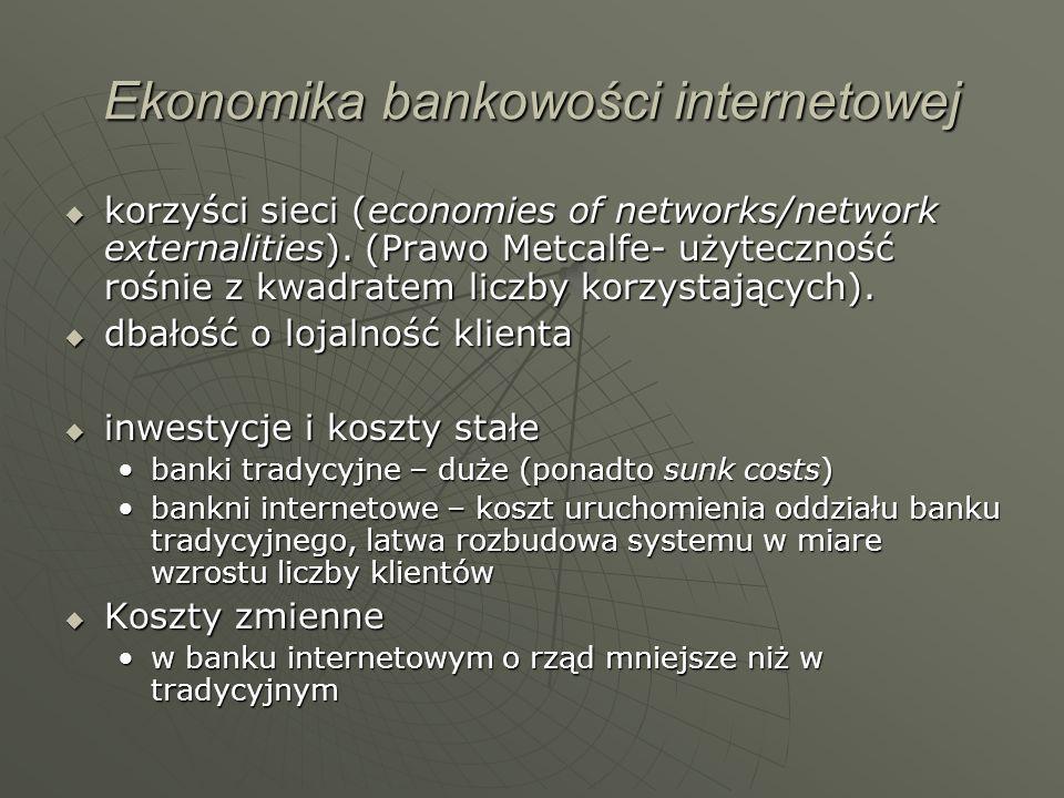 Ekonomika bankowości internetowej korzyści sieci (economies of networks/network externalities). (Prawo Metcalfe- użyteczność rośnie z kwadratem liczby