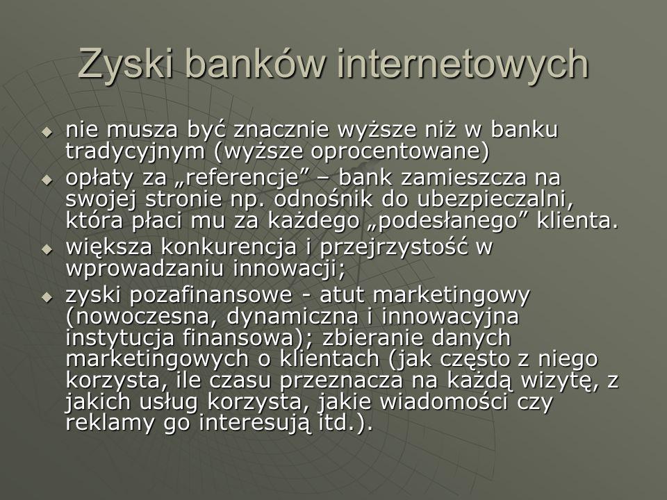 Zyski banków internetowych nie musza być znacznie wyższe niż w banku tradycyjnym (wyższe oprocentowane) nie musza być znacznie wyższe niż w banku trad