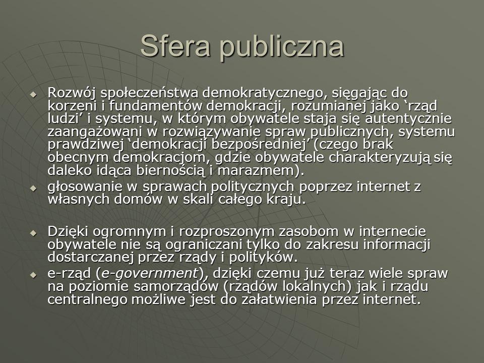 Sfera publiczna Rozwój społeczeństwa demokratycznego, sięgając do korzeni i fundamentów demokracji, rozumianej jako rząd ludzi i systemu, w którym oby