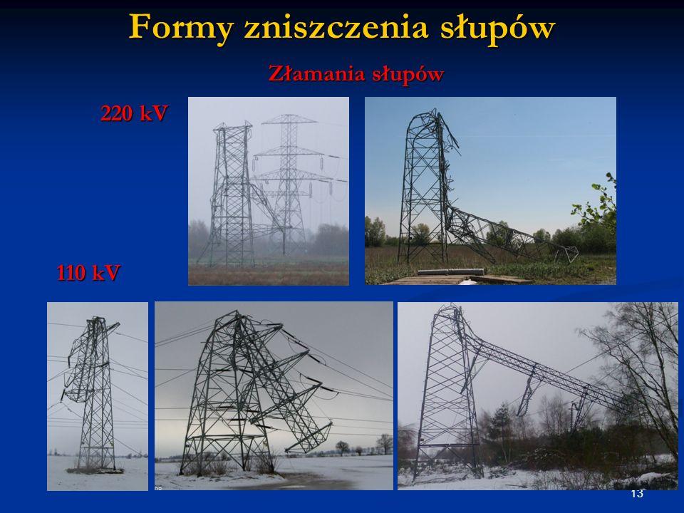 13 Formy zniszczenia słupów Złamania słupów 220 kV 110 kV