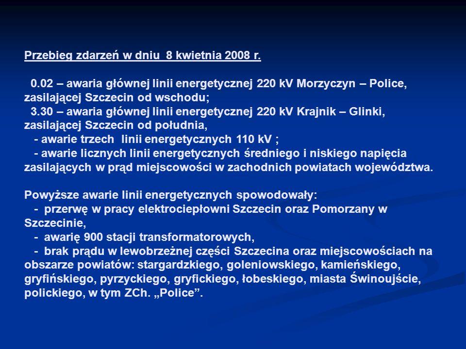 Przebieg zdarzeń w dniu 8 kwietnia 2008 r. 0.02 – awaria głównej linii energetycznej 220 kV Morzyczyn – Police, zasilającej Szczecin od wschodu; 3.30