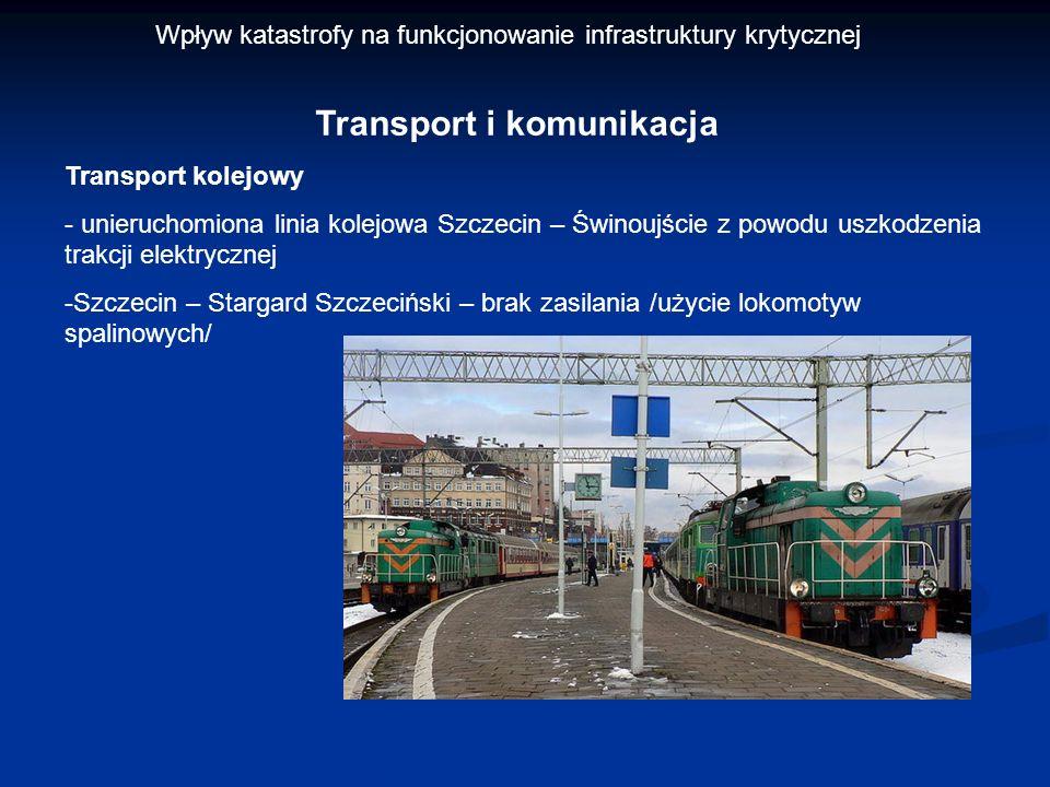 Transport kolejowy - unieruchomiona linia kolejowa Szczecin – Świnoujście z powodu uszkodzenia trakcji elektrycznej -Szczecin – Stargard Szczeciński –