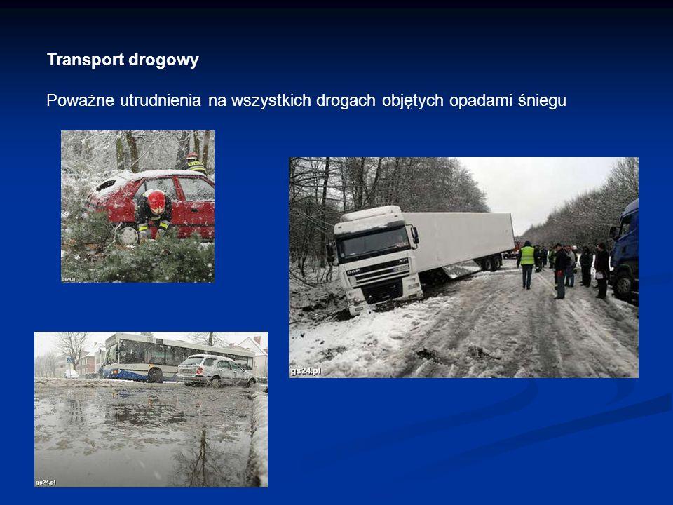 Transport drogowy Poważne utrudnienia na wszystkich drogach objętych opadami śniegu
