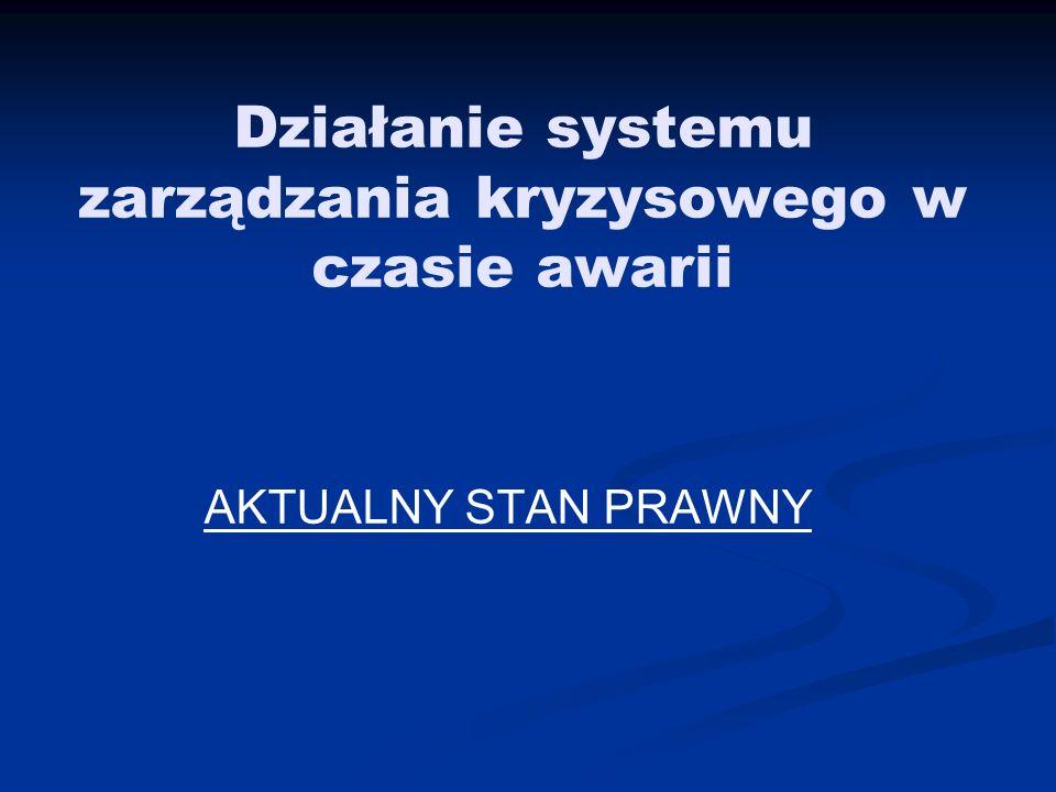 Działanie systemu zarządzania kryzysowego w czasie awarii AKTUALNY STAN PRAWNY