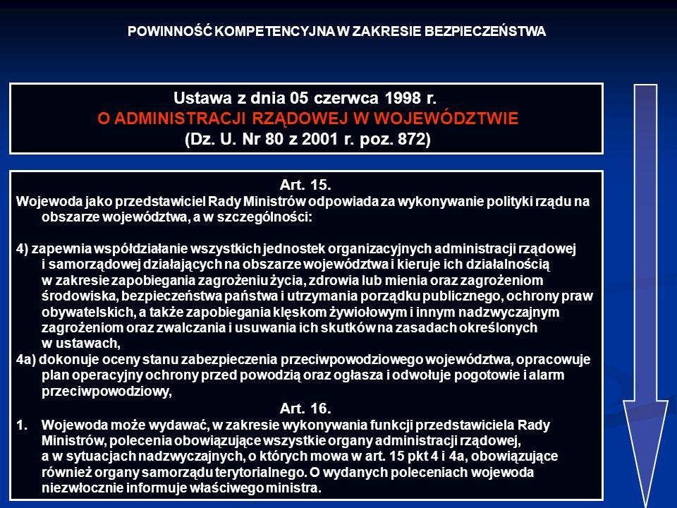 POWINNOŚĆ KOMPETENCYJNA W ZAKRESIE BEZPIECZEŃSTWA Ustawa z dnia 05 czerwca 1998 r. O ADMINISTRACJI RZĄDOWEJ W WOJEWÓDZTWIE (Dz. U. Nr 80 z 2001 r. poz