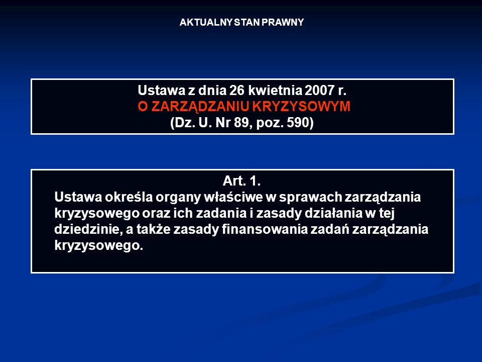 AKTUALNY STAN PRAWNY Ustawa z dnia 26 kwietnia 2007 r. O ZARZĄDZANIU KRYZYSOWYM (Dz. U. Nr 89, poz. 590) Art. 1. Ustawa określa organy właściwe w spra