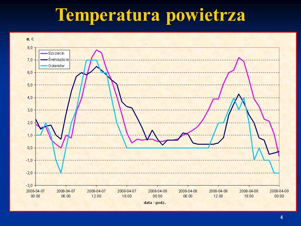 5 Prędkość wiatru Charakterystyczne prędkości wiatru wg PN-77/B-02011 Strefa I – Szczecin – 20 m/s Strefa II – Goleniów – 24 m/s Strefa IIa – Świnoujście – 27 m/s Kierunek wiatru wg IMiGW: 16:00÷21:00 – PN i PN-ZACH, 3÷6 m/s 22:00÷01:00 – ZACH-PN, 3÷4 m/s 02:00÷14:00 – ZACH, 4÷8 m/s