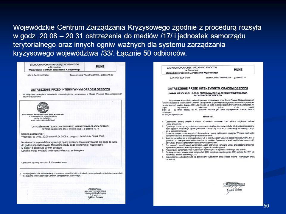 50 Wojewódzkie Centrum Zarządzania Kryzysowego zgodnie z procedurą rozsyła w godz. 20.08 – 20.31 ostrzeżenia do mediów /17/ i jednostek samorządu tery
