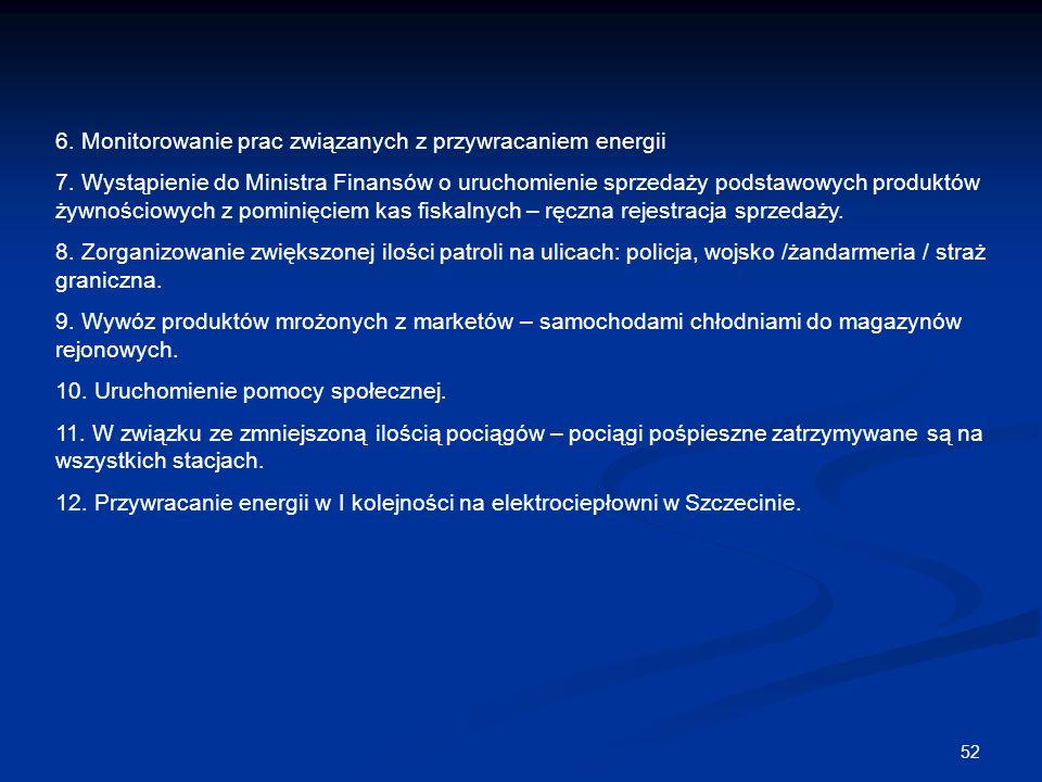 52 6. Monitorowanie prac związanych z przywracaniem energii 7. Wystąpienie do Ministra Finansów o uruchomienie sprzedaży podstawowych produktów żywnoś