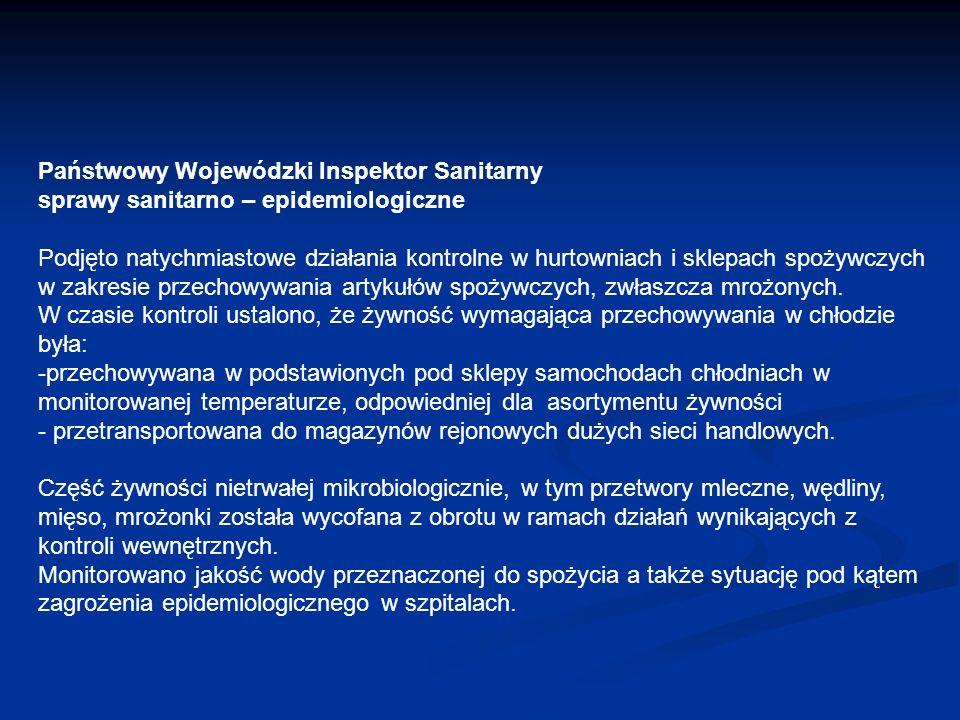 Państwowy Wojewódzki Inspektor Sanitarny sprawy sanitarno – epidemiologiczne Podjęto natychmiastowe działania kontrolne w hurtowniach i sklepach spoży
