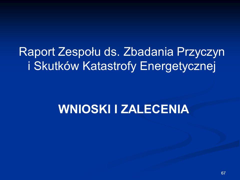 67 Raport Zespołu ds. Zbadania Przyczyn i Skutków Katastrofy Energetycznej WNIOSKI I ZALECENIA
