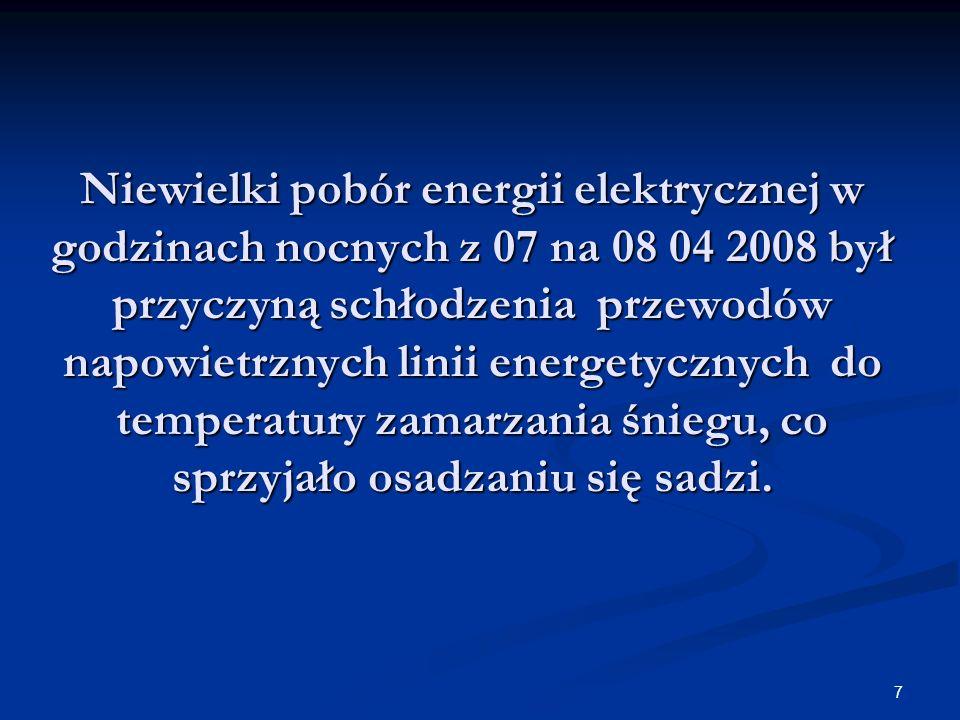 7 Niewielki pobór energii elektrycznej w godzinach nocnych z 07 na 08 04 2008 był przyczyną schłodzenia przewodów napowietrznych linii energetycznych