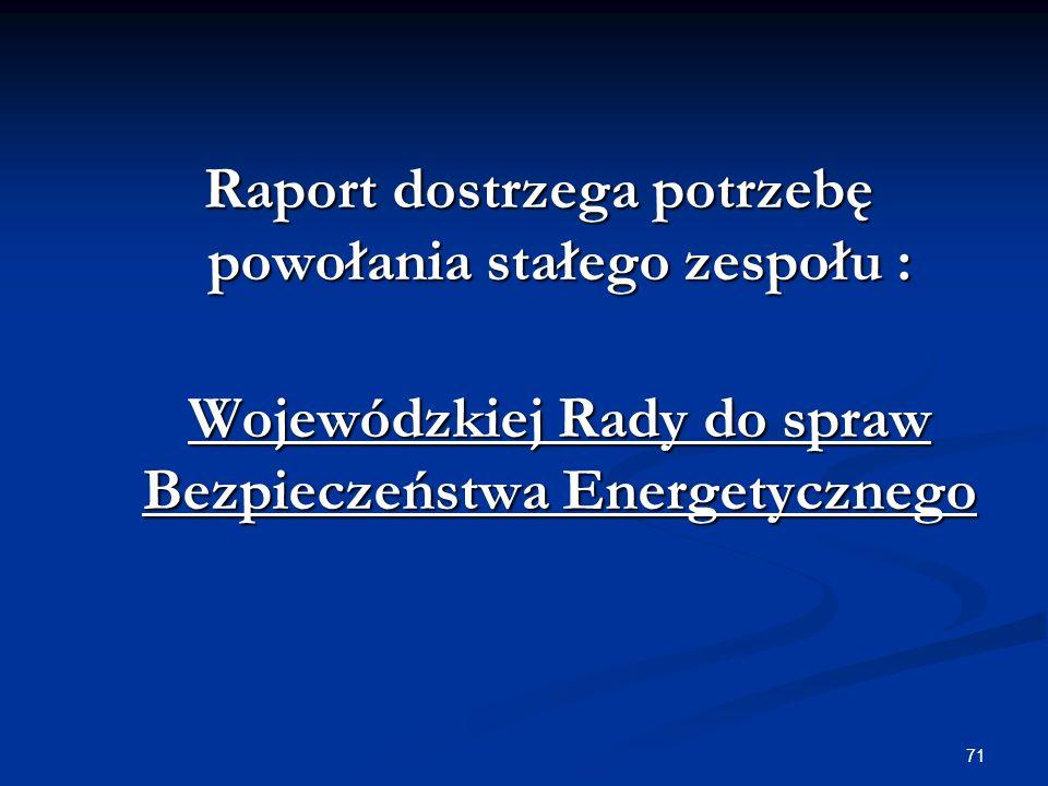 71 Raport dostrzega potrzebę powołania stałego zespołu : Wojewódzkiej Rady do spraw Bezpieczeństwa Energetycznego