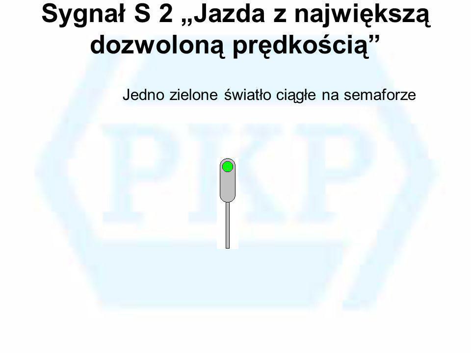Sygnał S 2 Jazda z największą dozwoloną prędkością Jedno zielone światło ciągłe na semaforze
