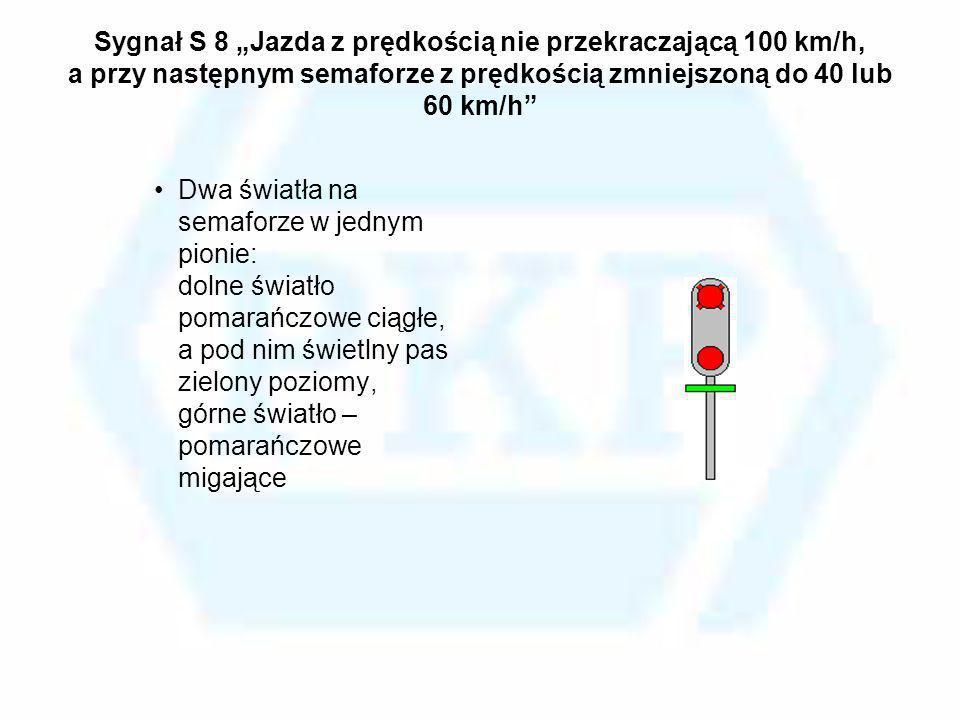 Sygnał S 8 Jazda z prędkością nie przekraczającą 100 km/h, a przy następnym semaforze z prędkością zmniejszoną do 40 lub 60 km/h Dwa światła na semafo