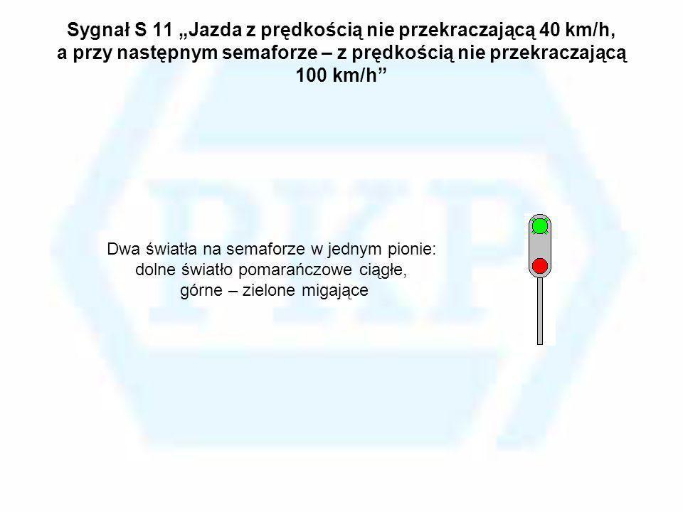 Sygnał S 11 Jazda z prędkością nie przekraczającą 40 km/h, a przy następnym semaforze – z prędkością nie przekraczającą 100 km/h Dwa światła na semafo