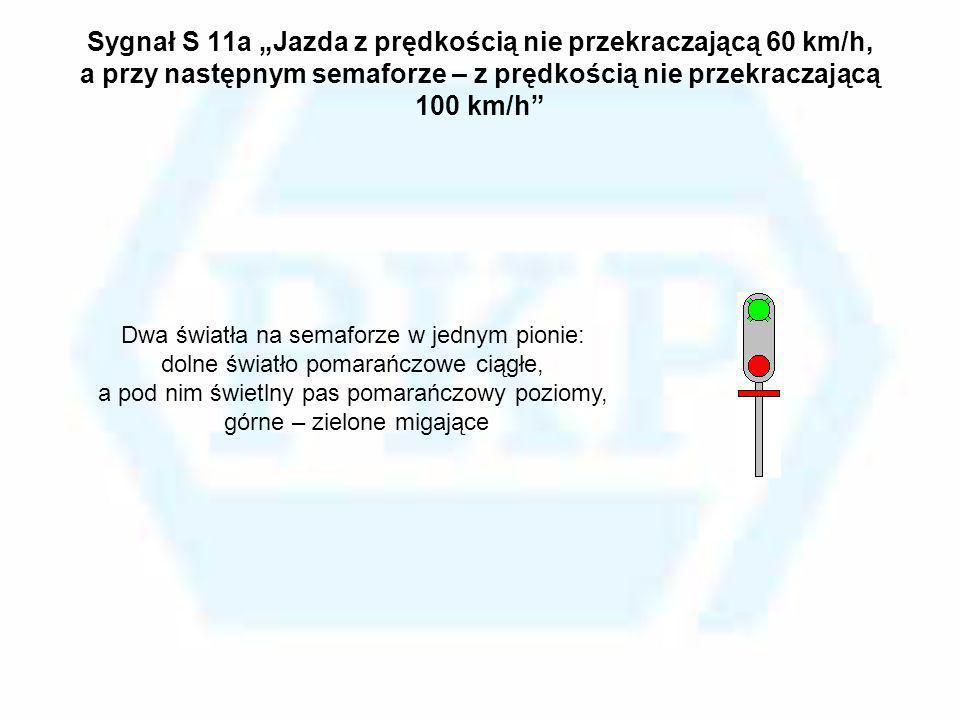 Sygnał S 11a Jazda z prędkością nie przekraczającą 60 km/h, a przy następnym semaforze – z prędkością nie przekraczającą 100 km/h Dwa światła na semaf