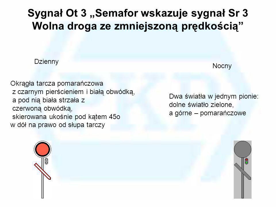 Sygnał Ot 3 Semafor wskazuje sygnał Sr 3 Wolna droga ze zmniejszoną prędkością Okrągła tarcza pomarańczowa z czarnym pierścieniem i białą obwódką, a p