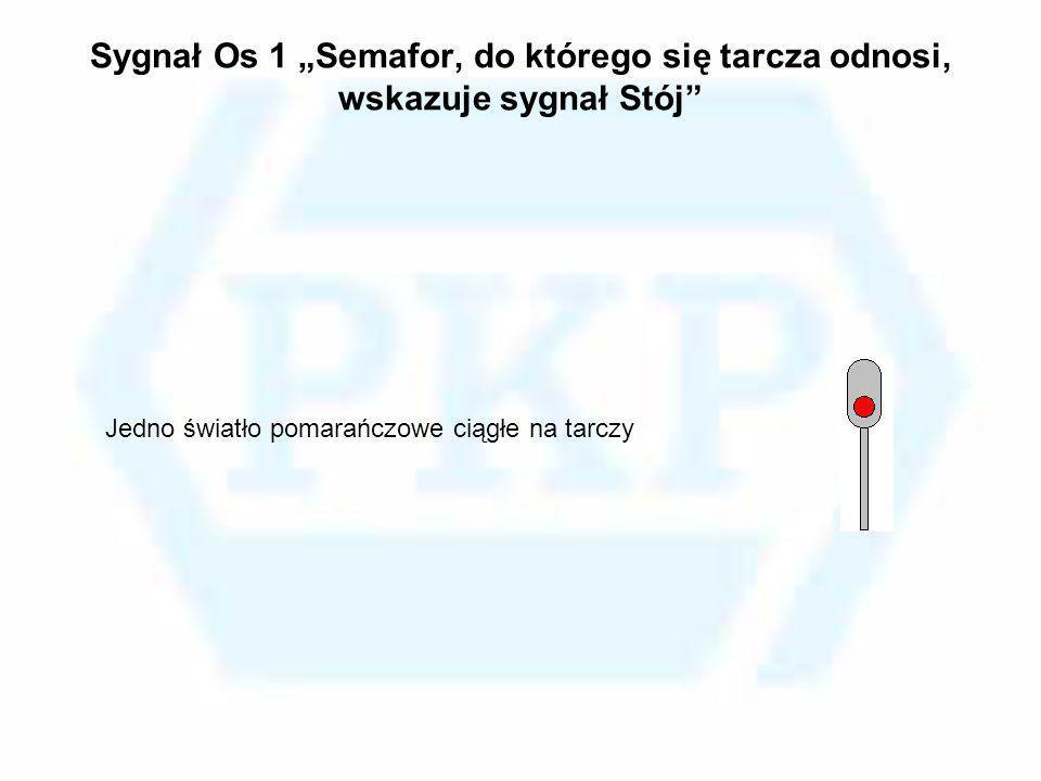 Sygnał Os 1 Semafor, do którego się tarcza odnosi, wskazuje sygnał Stój Jedno światło pomarańczowe ciągłe na tarczy