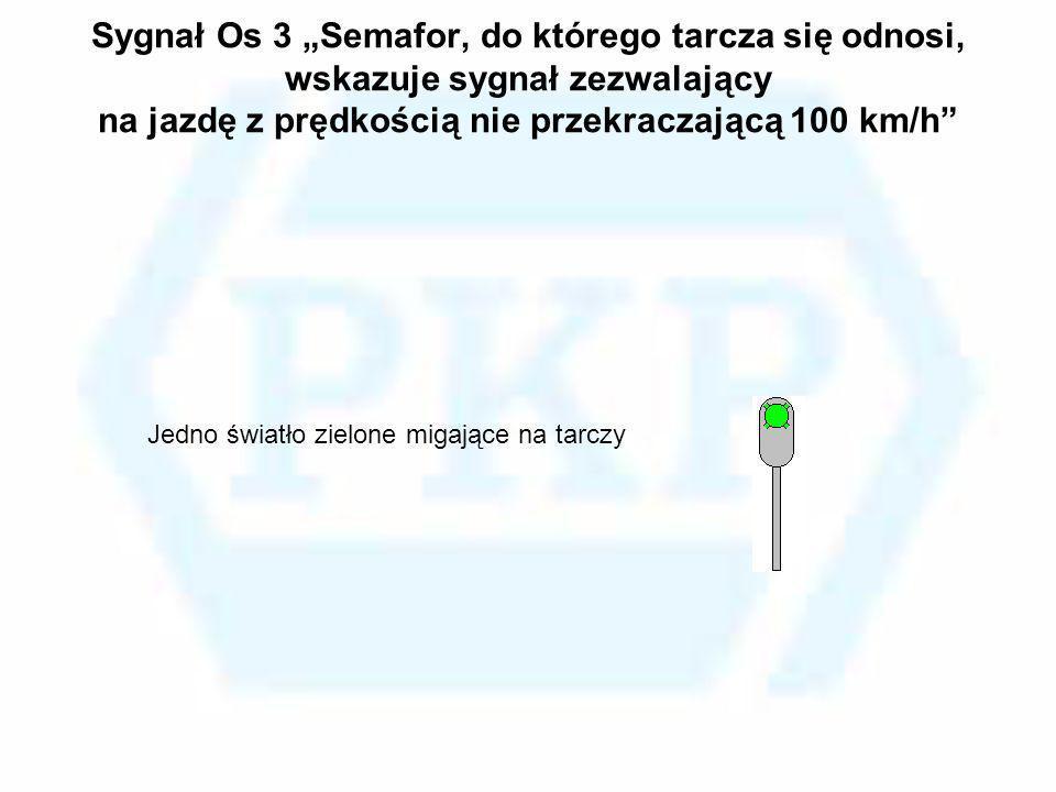 Sygnał Os 3 Semafor, do którego tarcza się odnosi, wskazuje sygnał zezwalający na jazdę z prędkością nie przekraczającą 100 km/h Jedno światło zielone