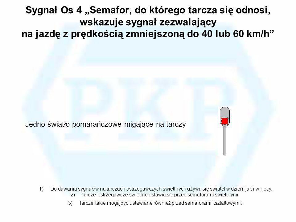 Sygnał Os 4 Semafor, do którego tarcza się odnosi, wskazuje sygnał zezwalający na jazdę z prędkością zmniejszoną do 40 lub 60 km/h Jedno światło pomar
