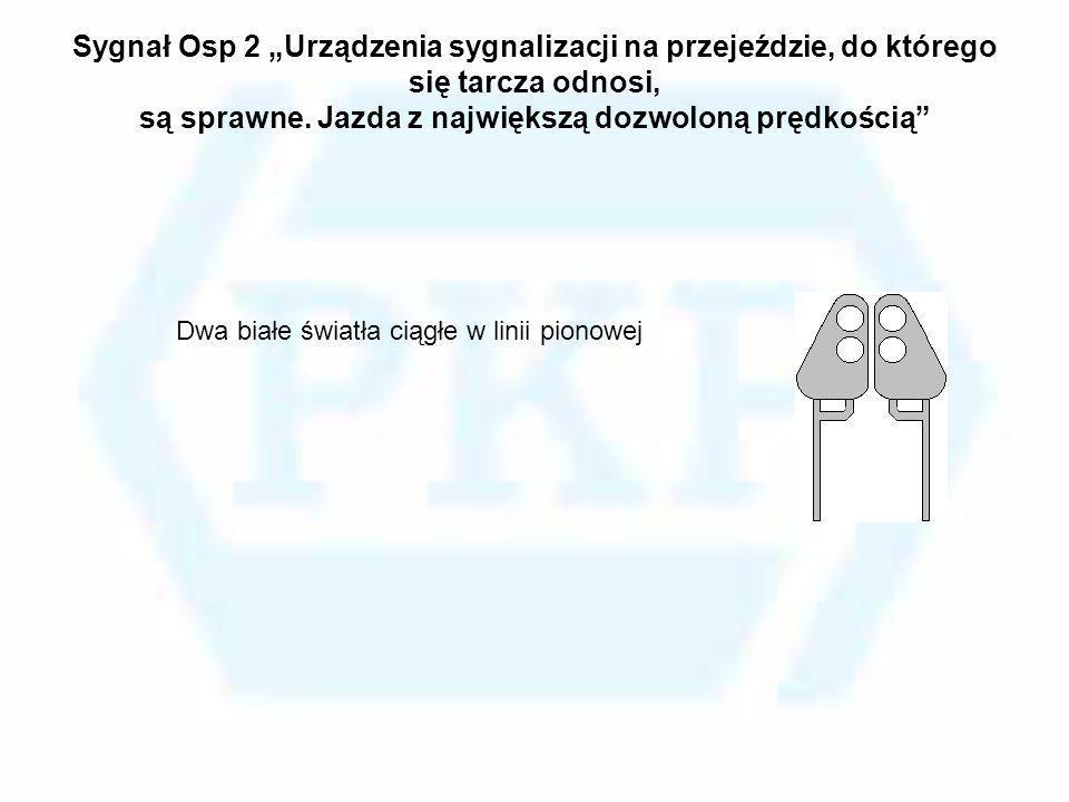 Sygnał Osp 2 Urządzenia sygnalizacji na przejeździe, do którego się tarcza odnosi, są sprawne. Jazda z największą dozwoloną prędkością Dwa białe świat