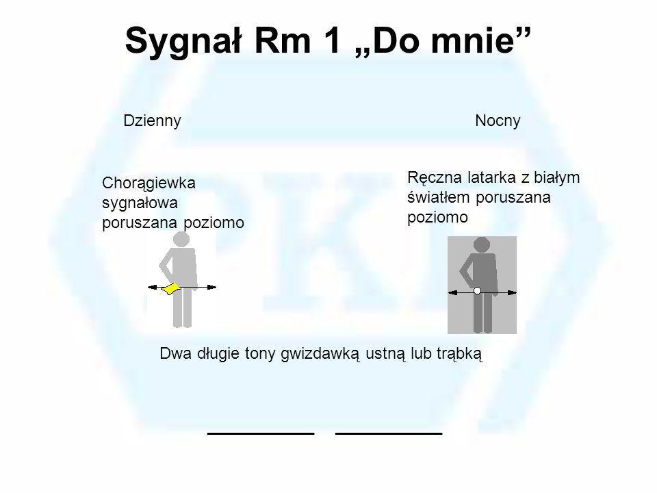 Sygnał Rm 1 Do mnie Chorągiewka sygnałowa poruszana poziomo Ręczna latarka z białym światłem poruszana poziomo DziennyNocny Dwa długie tony gwizdawką