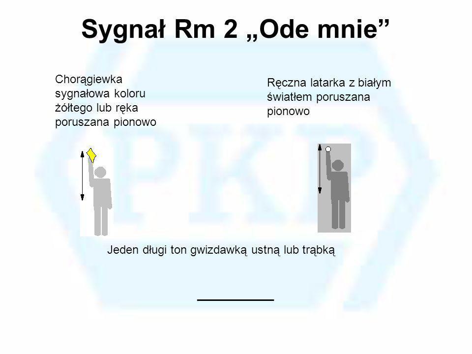 Sygnał Rm 2 Ode mnie Chorągiewka sygnałowa koloru żółtego lub ręka poruszana pionowo Ręczna latarka z białym światłem poruszana pionowo Jeden długi to