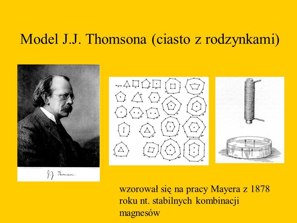 Model J.J. Thomsona (ciasto z rodzynkami) wzorował się na pracy Mayera z 1878 roku nt. stabilnych kombinacji magnesów