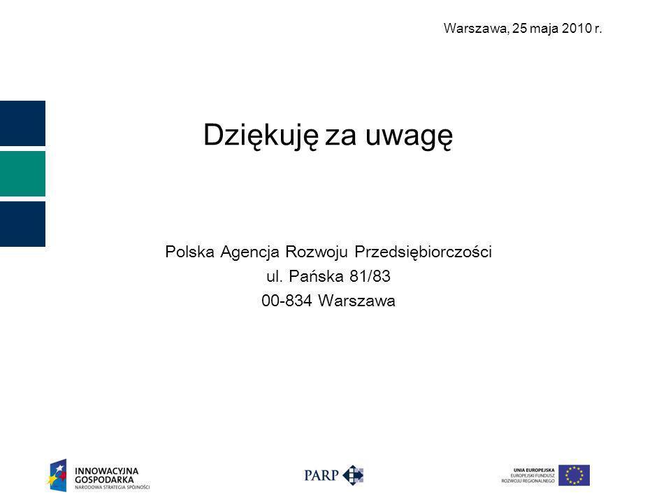 Warszawa, 25 maja 2010 r. Dziękuję za uwagę Polska Agencja Rozwoju Przedsiębiorczości ul.