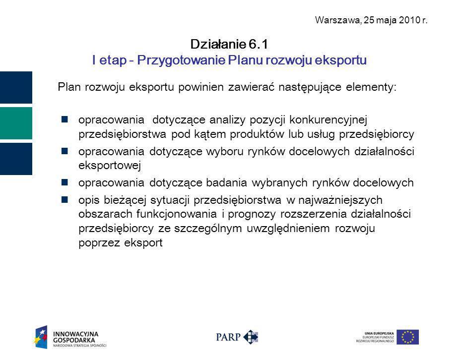 Warszawa, 25 maja 2010 r.Działanie 6.1 I etap - Przygotowanie Planu rozwoju eksportu c.d.