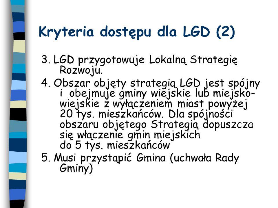 Kryteria dostępu dla LGD (2) 3. LGD przygotowuje Lokalną Strategię Rozwoju.