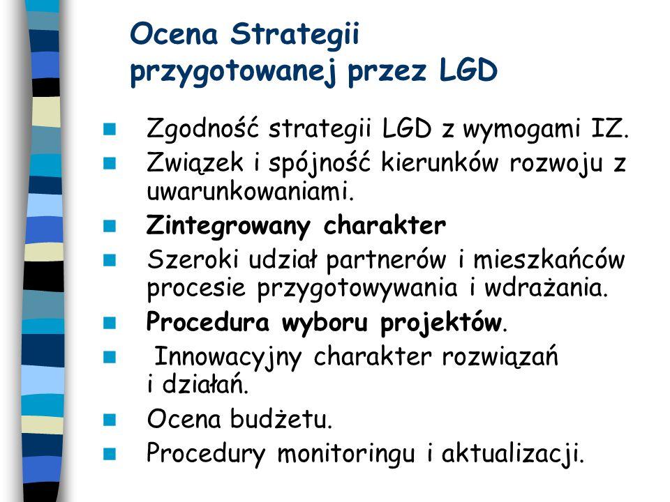 Ocena Strategii przygotowanej przez LGD Zgodność strategii LGD z wymogami IZ.