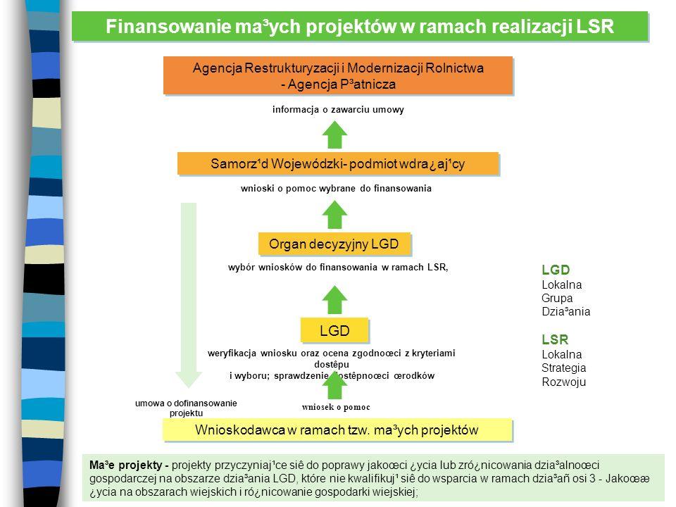 Finansowanie ma³ych projektów w ramach realizacji LSR Wnioskodawca w ramach tzw.