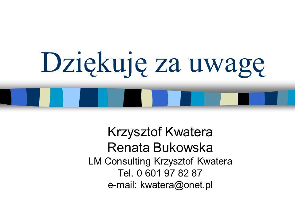 Dziękuję za uwagę Krzysztof Kwatera Renata Bukowska LM Consulting Krzysztof Kwatera Tel.