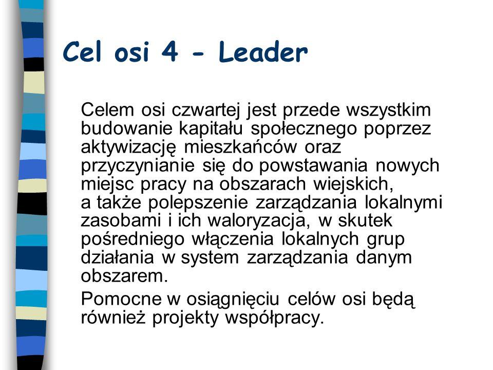 Cel osi 4 - Leader Celem osi czwartej jest przede wszystkim budowanie kapitału społecznego poprzez aktywizację mieszkańców oraz przyczynianie się do powstawania nowych miejsc pracy na obszarach wiejskich, a także polepszenie zarządzania lokalnymi zasobami i ich waloryzacja, w skutek pośredniego włączenia lokalnych grup działania w system zarządzania danym obszarem.