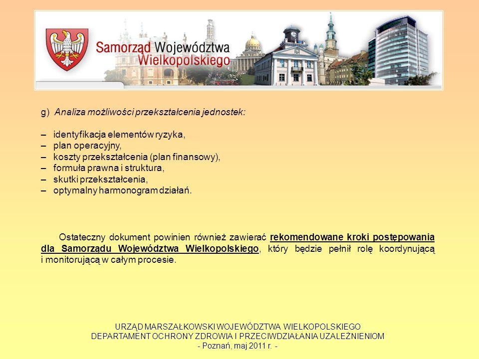 URZĄD MARSZAŁKOWSKI WOJEWÓDZTWA WIELKOPOLSKIEGO DEPARTAMENT OCHRONY ZDROWIA I PRZECIWDZIAŁANIA UZALEŻNIENIOM - Poznań, maj 2011 r. - g) Analiza możliw